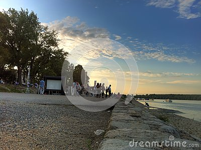 Sunset evening in Zemun on river Danube with open movie theatre