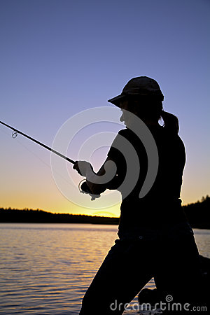 Sunset Fisherman Close Up