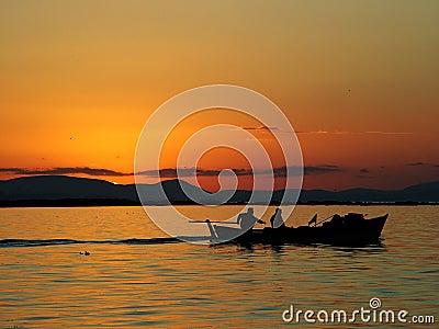 Sunset of fishing