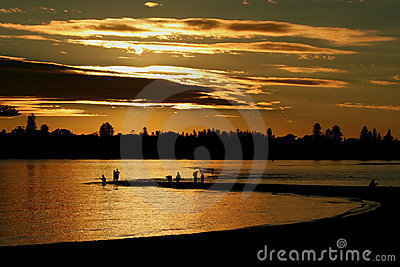 Sunset Fishing at Point Walter, Swan River, Perth.