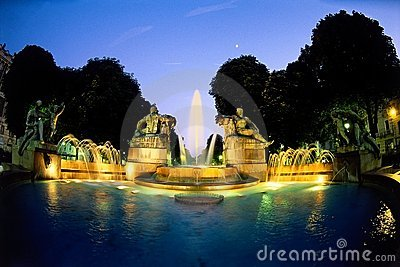 Sunset fountain in Turin Italy