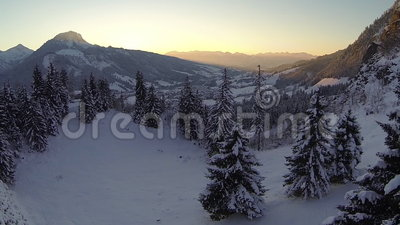 Sunset in the german alps. Flying upwards over winter forest with the sun setting behind the alps stock video