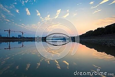 Sunset glow and bridge