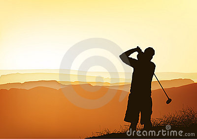 Sunset golfer