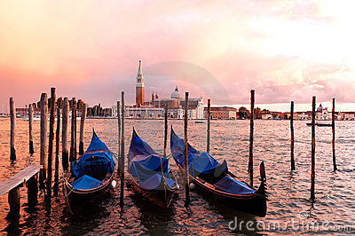 Sunset Gondolas, Venice, Italy