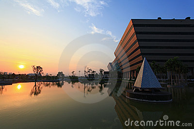Sunset at Government Complex Bangkok Editorial Photo