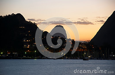 Sunset in Guanabara Bay and Sugar Loaf