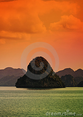 Sunset on Halong Bay, Vietnam
