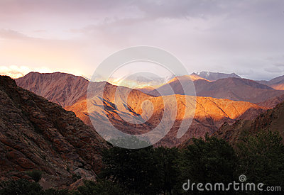 Sunset in Hemis, Ladakh range, Northern India