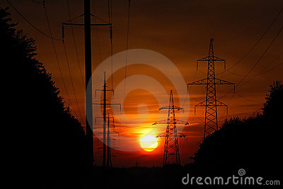Sunset in high-voltage line