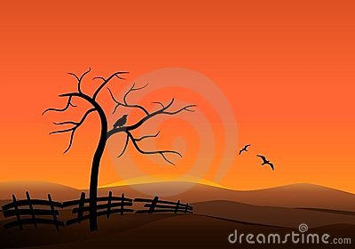 Sunset on the hills, cdr vector