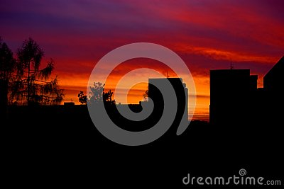 Sunset in housing estates Stock Photo
