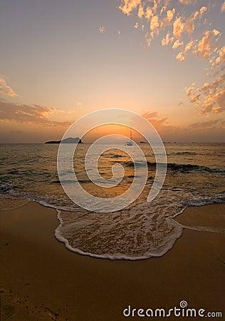 Sunset at Ibiza beach