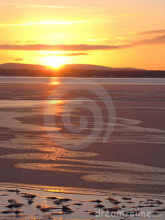 Sunset on the ice-covered sea