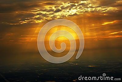 Sunset, illuminating the ground
