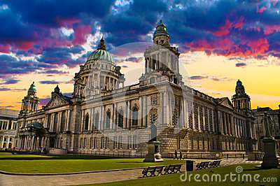 Sunset Image of City Hall, Belfast Northern Ireland