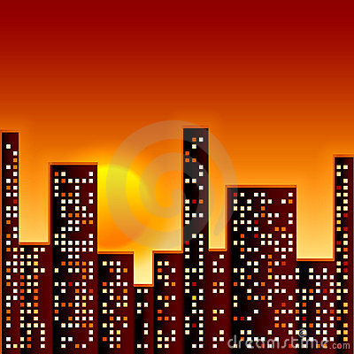 Free Sunset In City Stock Image - 16077731