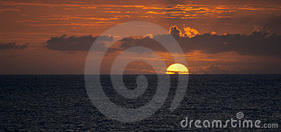 Sunset on Indian Ocean, Reunion Island