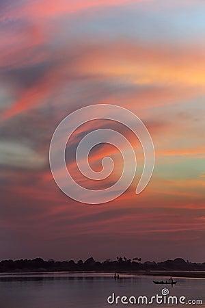 Free Sunset - Irrawaddy River - Myanmar (Burma) Stock Image - 30062861