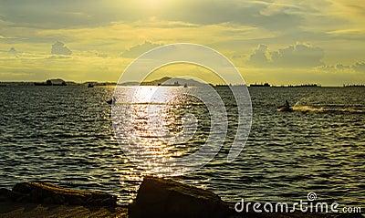 Sunset with jetski