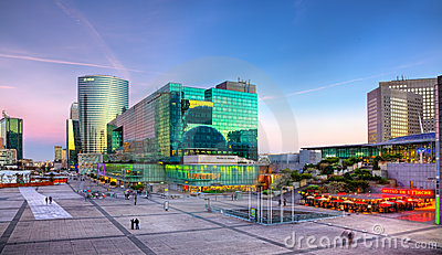 Sunset in La Defense Editorial Photography