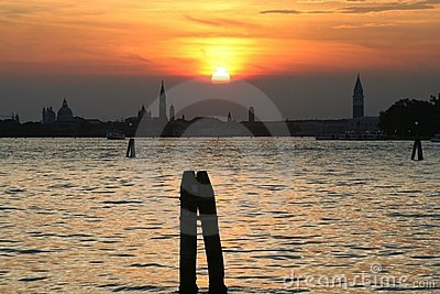 Sunset in the lagoon of Venice