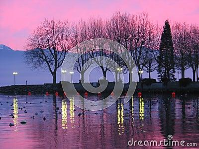 Sunset on lake Geneva 1