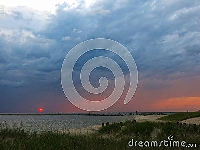 Sunset at lake in Michigan, horizontal