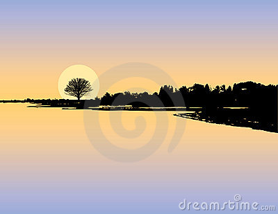 Sunset lake silhouette