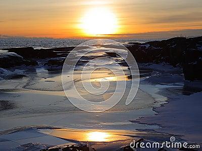 Sunset on Lake Superior winte