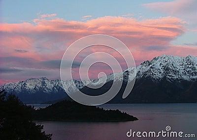 Sunset of Lake Wakatipu, Queenstown, New Zealand