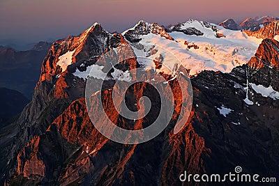 Sunset light in Berner Oberland