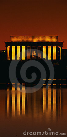 Sunset at the Lincoln Memorial Editorial Image