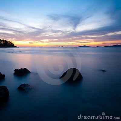 Sunset Long Exposure Ocean Rocks