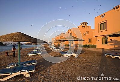 Sunset of mediterranean beach resort
