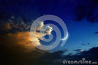 Sunset, moon, stars