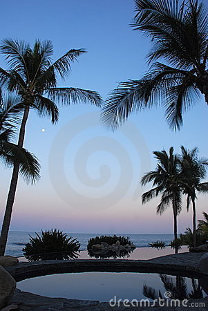 Sunset and moonrise at Pool Los Cabos Mexico 2