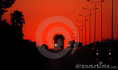 Sunset on a motorway