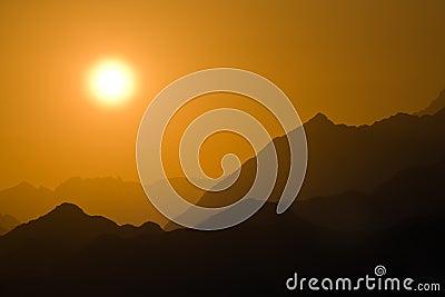 Sunset in mountain desert
