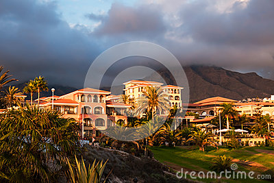 Sunset in mountain of Puerto de la Cruz, Tenerife, Spain. Tourist hotel Resort. Sunset