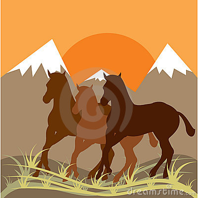 Sunset mountain scenery and three horses.