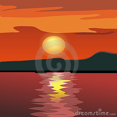 Sunset and mountain silhouette from the sea.
