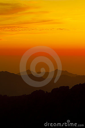 Sunset in the mountains of Corsica