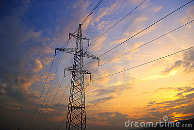 Sunset in mountains and electrified