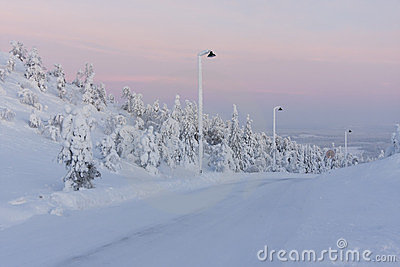 Sunset in mountains near Ruka, Finland