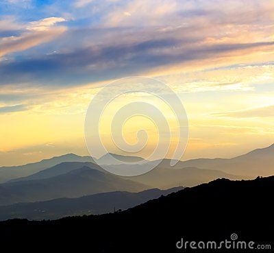 Sunset on the mountains silhouette landscape