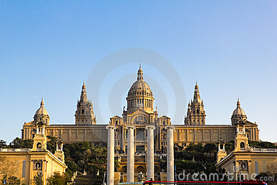 Sunset in National Palace of Barcelona