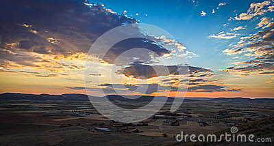 Sunset near Consuegra, Castile-La-Mancha, Spain