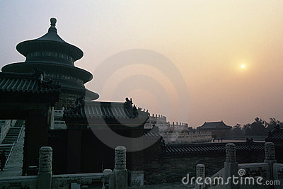 Sunset near Temple of Heaven