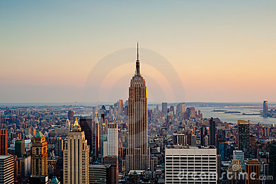Sunset in New York City Editorial Stock Image